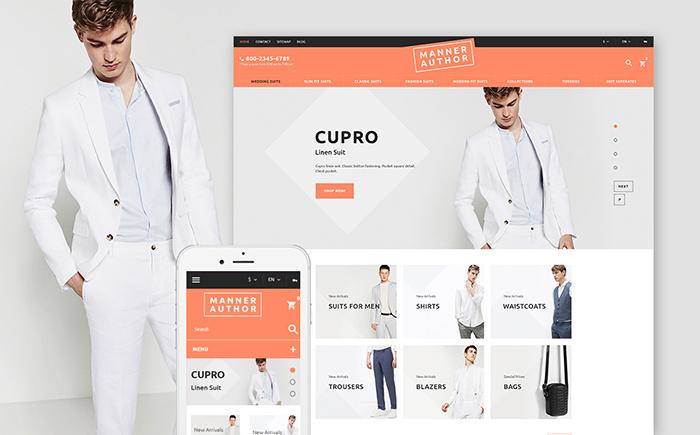 Responsywny szablon PrestaShop MannerAuthor - sklep odzieży męskiej