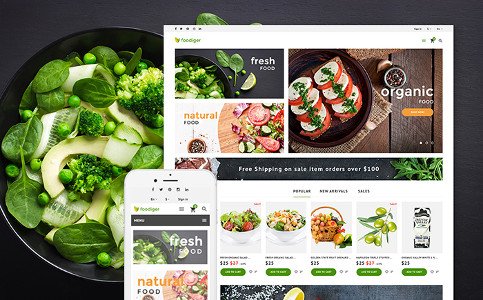 Responsywny szablon PrestaShop Foodiger - sklep spożywczy