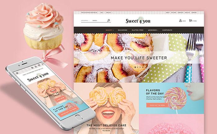 Responsywny szablon PrestaShop na temat: cukiernia