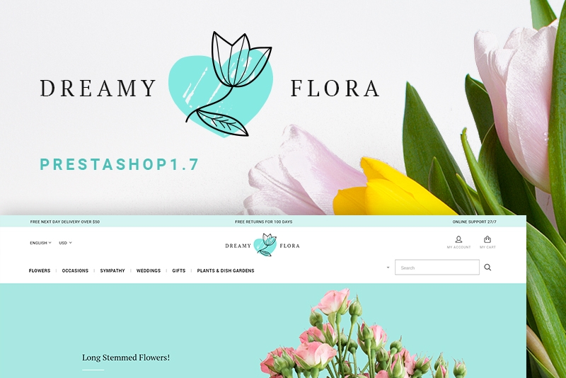 Szablon PrestaShop #66877 na temat: kwiaciarnia