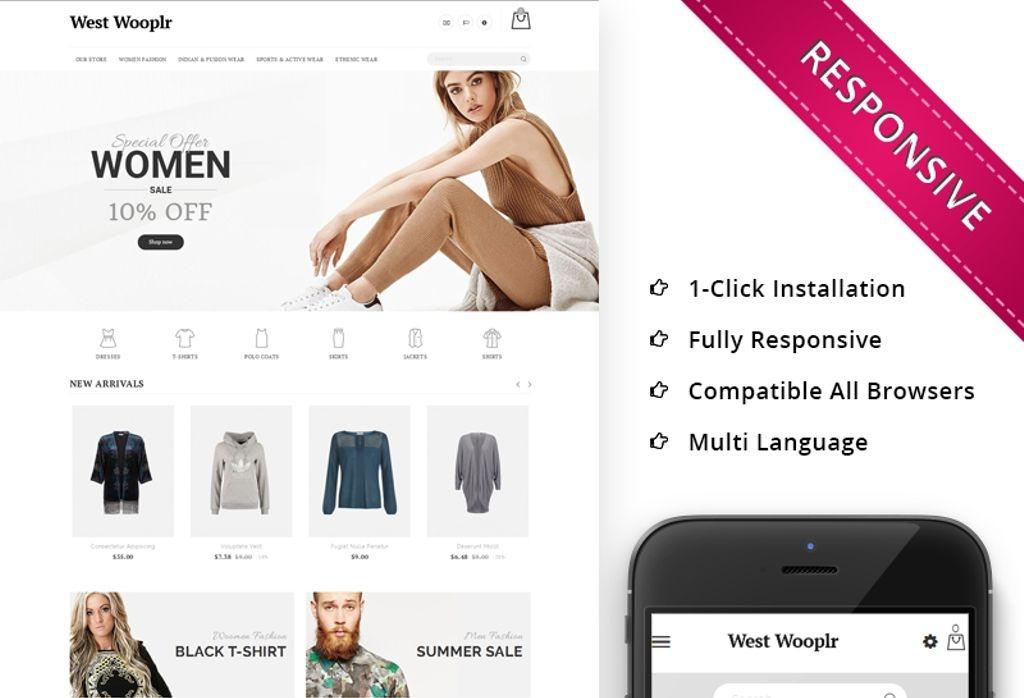 Responsywny szablon PrestaShop #68403 na temat: odzież