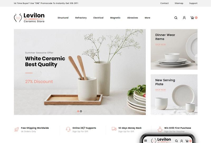 Responsywny szablon PrestaShop Levilon - Ceramic Store #84008