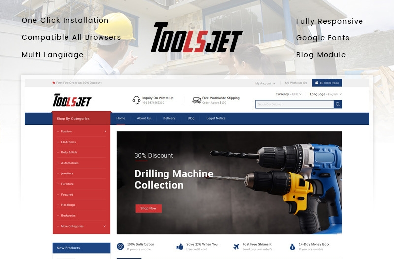 Responsywny szablon PrestaShop Toolsjet - Hardware Store #86161