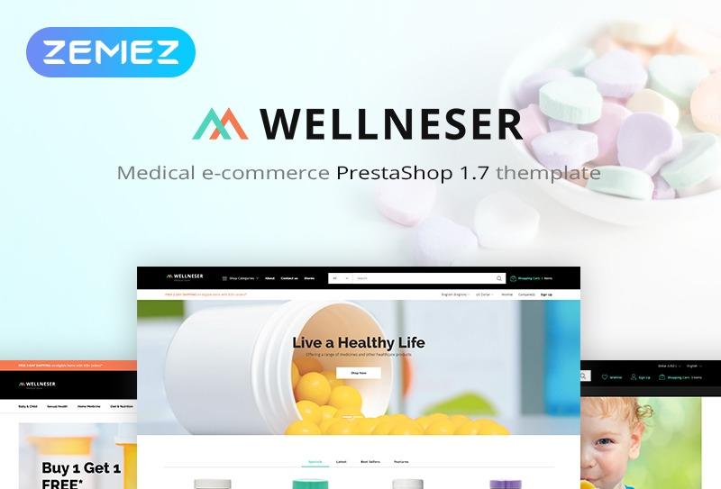 Responsywny szablon PrestaShop Wellneser - Medical Store Bootstrap Ecommerce Clean #82980