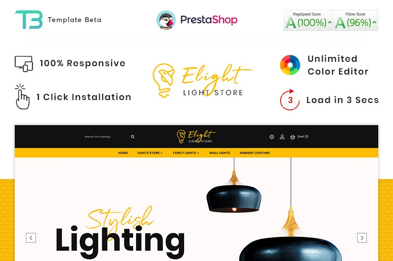 Responsywny szablon PrestaShop E-Light - LED Lighting Store #90414