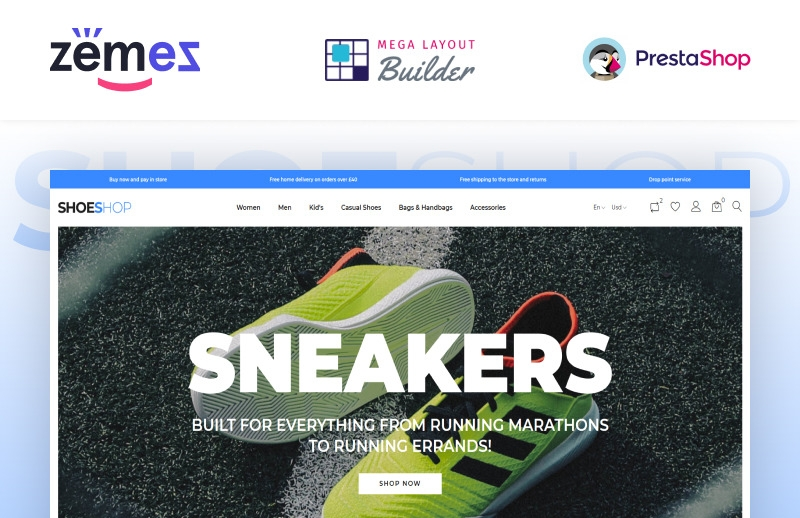 Responsywny szablon PrestaShop ShoeShop - Boot Shop #90437