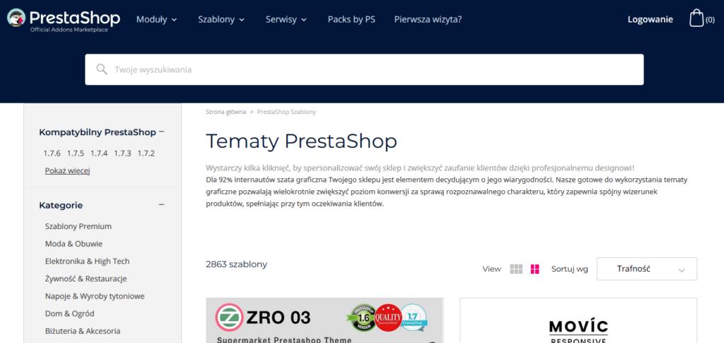 Szablony PrestaShop na stronie CMS